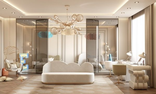 A Neutral Shared Bedroom in a Modern Contemporary Villa Contemporary Modern Kids Bedroom in a Villa in Monaco 5 600x360