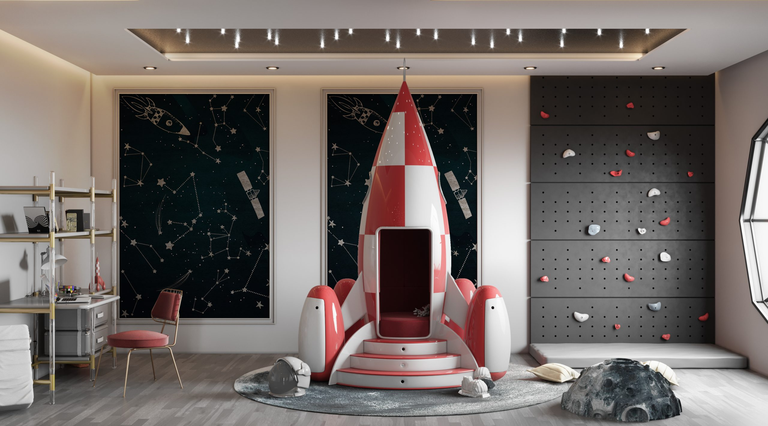 Luxury Space Theme Kids Room and playroom luxury space theme kids room Luxury Space Theme Kids Room: THE STARDOM ROOM CC 01 scaled