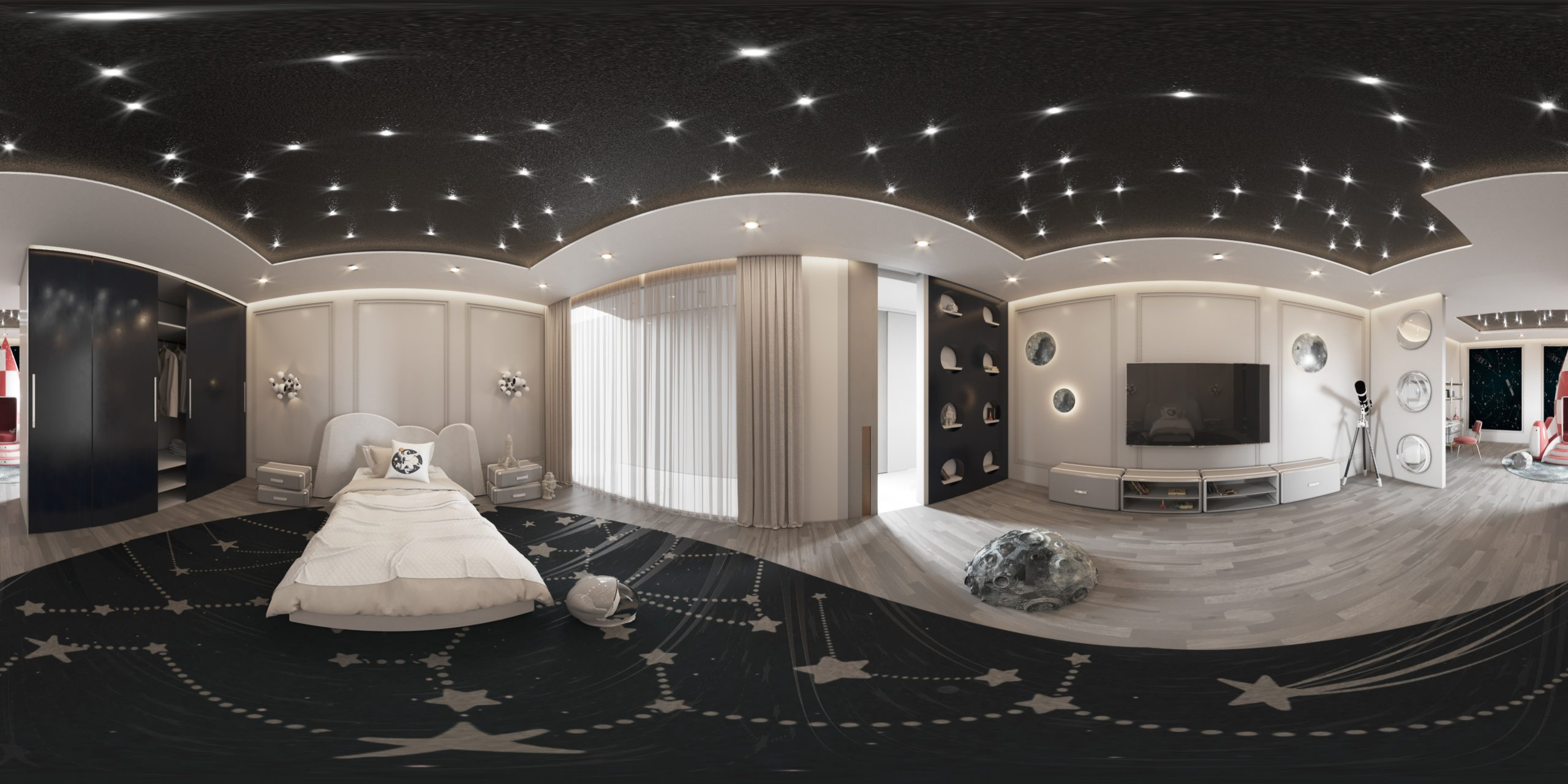 Luxury Space Theme Kids Room and playroom luxury space theme kids room Luxury Space Theme Kids Room: THE STARDOM ROOM CC 360 02 scaled