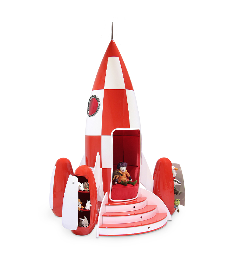 luxury space theme kids room Luxury Space Theme Kids Room: THE STARDOM ROOM rocky rocket circu magical furniture white red 3