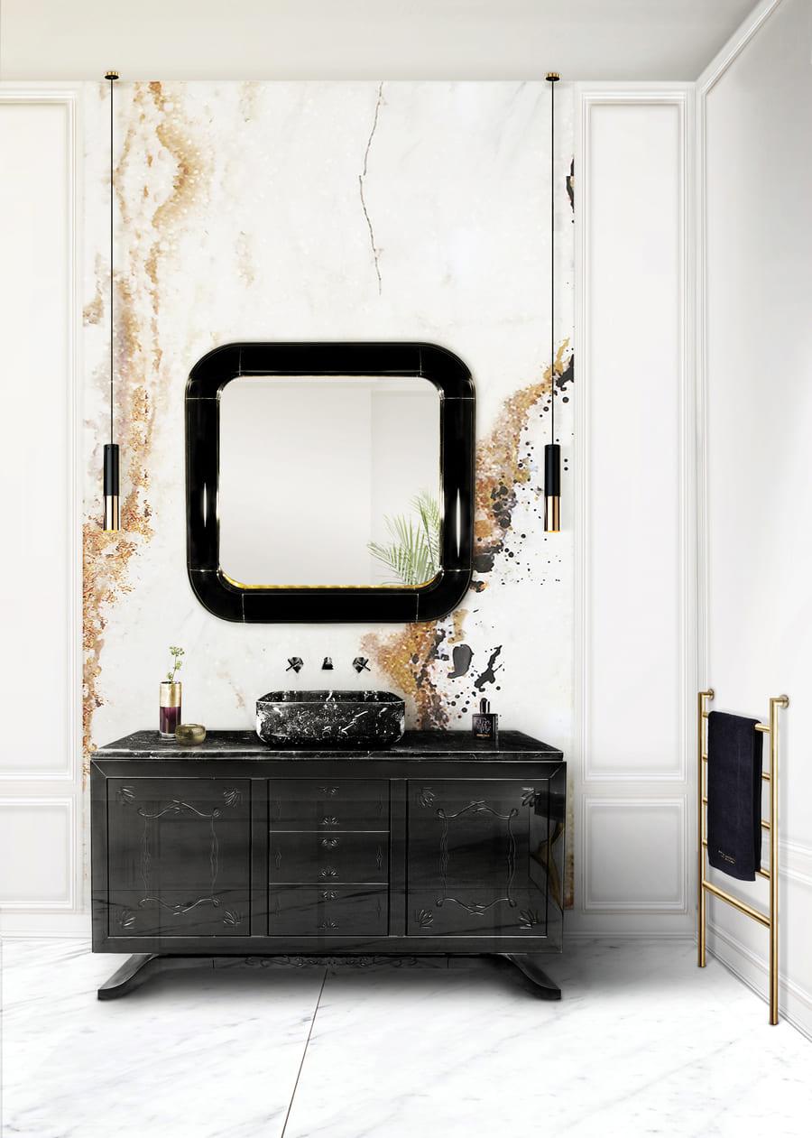 Exquisite black and white bathroom decor.