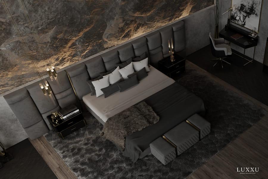 luxury dark toned bedroom design
