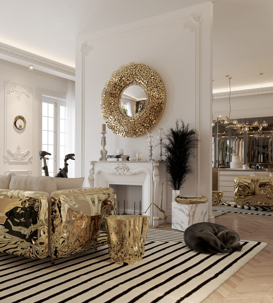 white and gold details for an outstanding living room