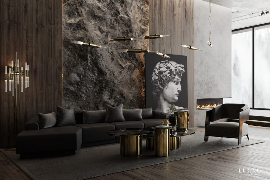 black and gold luxurious living room design