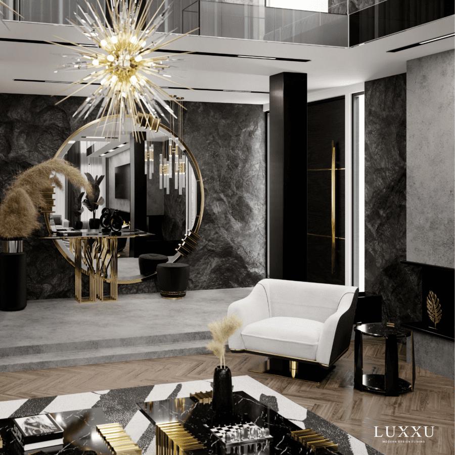 luxury dark toned living room design