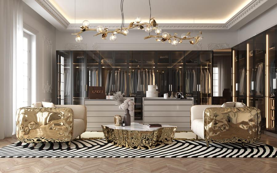 Luxury and exquisite gold, black, and whitecloset design.