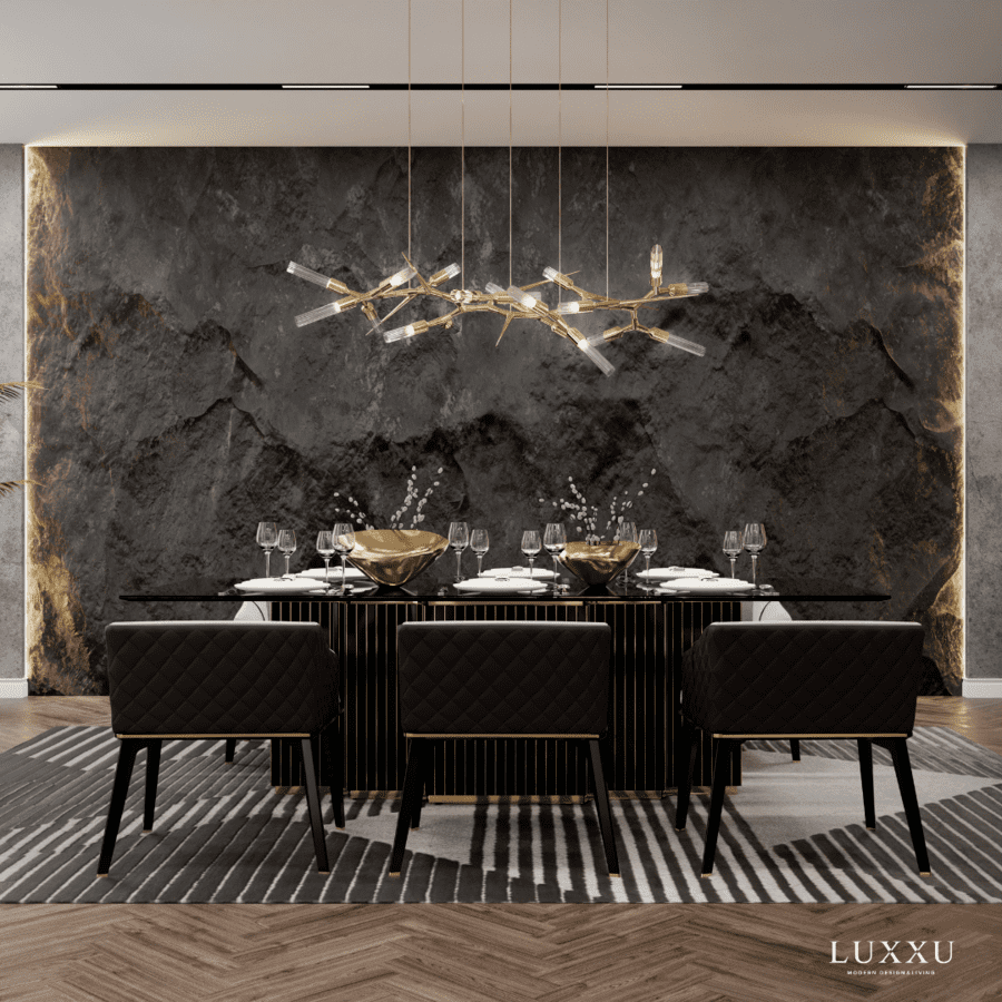 black and gold dining room design