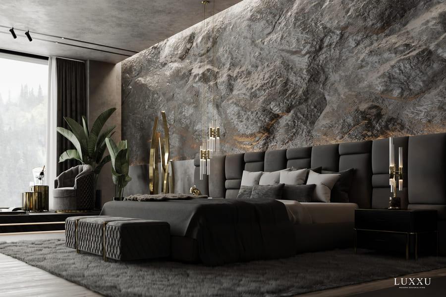 luxurious dark grey bedroom design