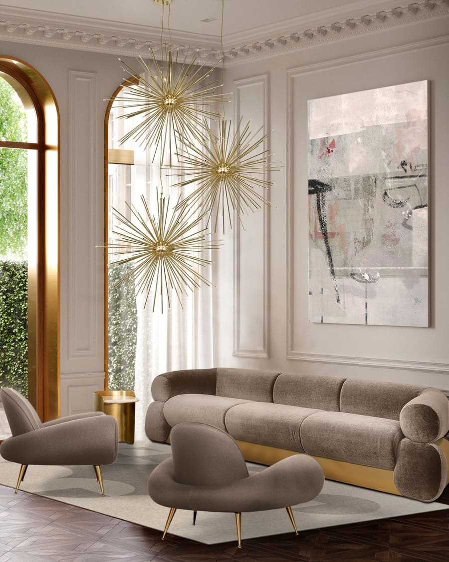 Fitzgerald sofa is an amazing modern sofa with a strong and elegant presence, that combines perfectly with the luxurious gold pendant lamps.