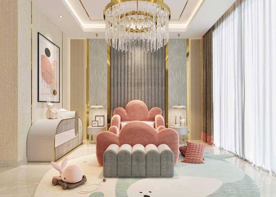 beautiful bedroom in pink