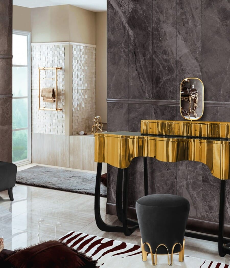 Minimalist bathroom design with an exquisite black and gold dressing table.