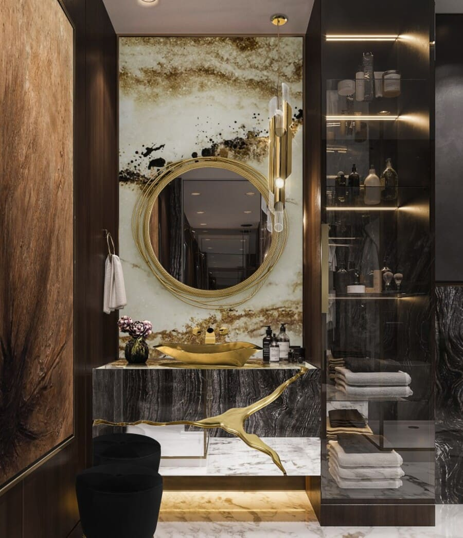 A luxurious bathroom with an exquisite gold washbasin.