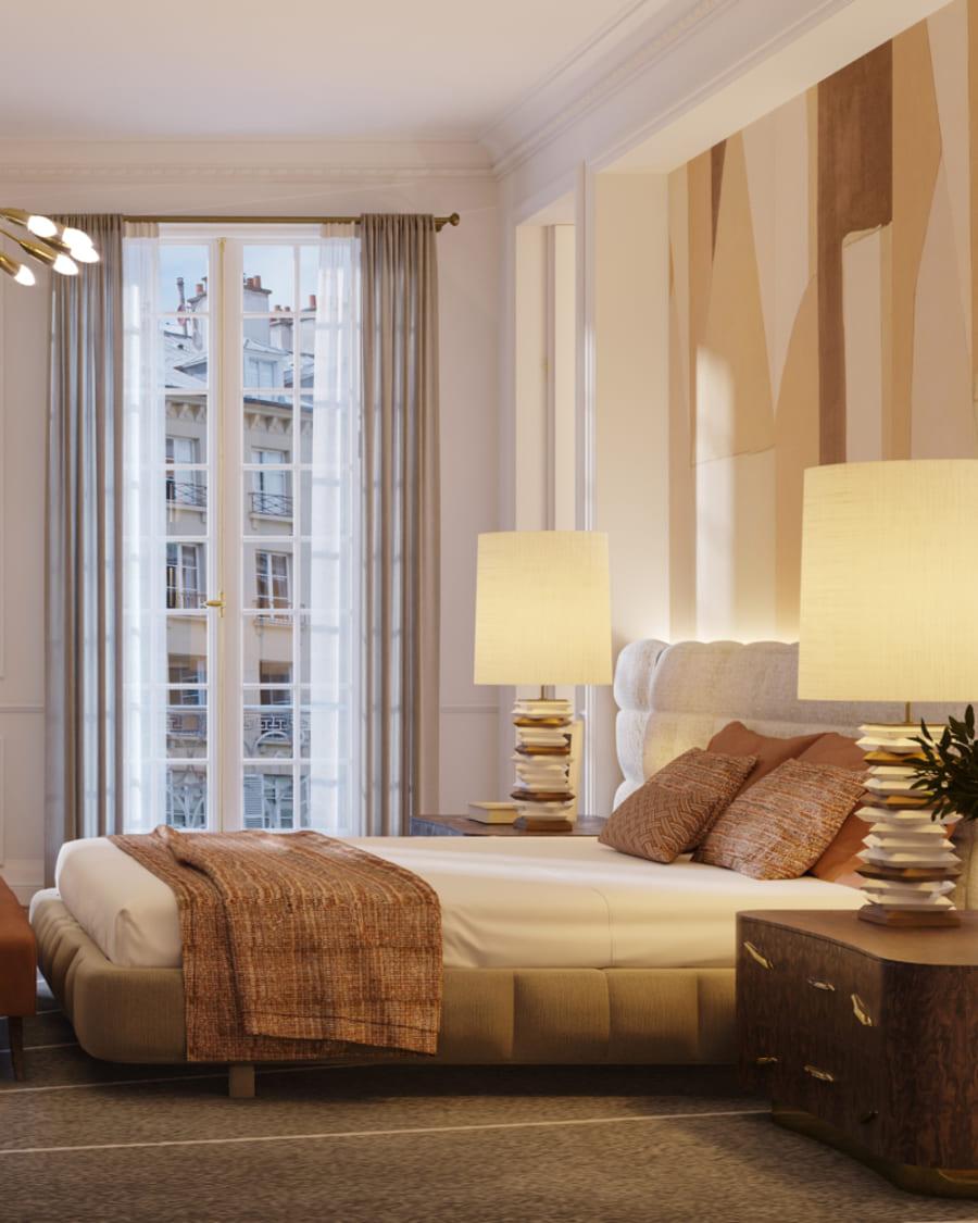 Contemporary bedroom inspiration in neutral tones.