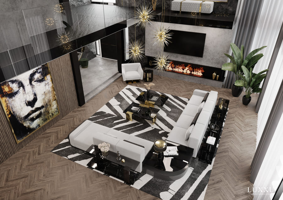 A luxury interior design inspiration for a living room with modern furniture.