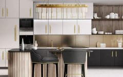 A luxurious and modern kitchen in shades of gold, black and white!