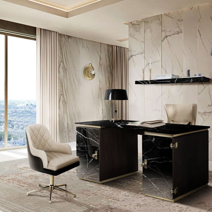Marble is such a luxurious material. This office looks exquisite with the black marble desk and white marble walls!