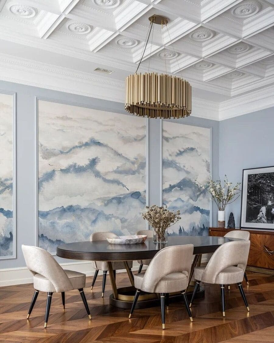 The Brubeck mid-century modern chandelier takes the spotlight in this dining room. This unique lighting design represents the sophistication and finesse of the American jazz pianist, displaying a very luxurious feeling.