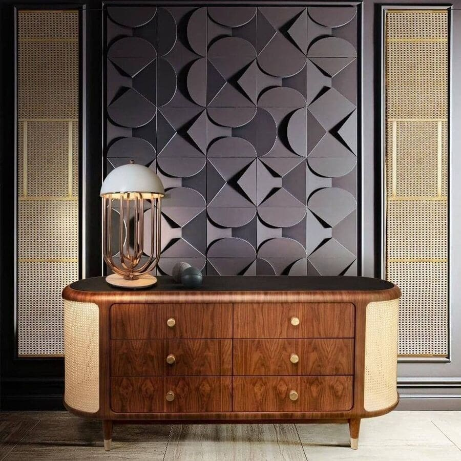 An interior design idea for an entryway with a mid-century modern wood sideboard.