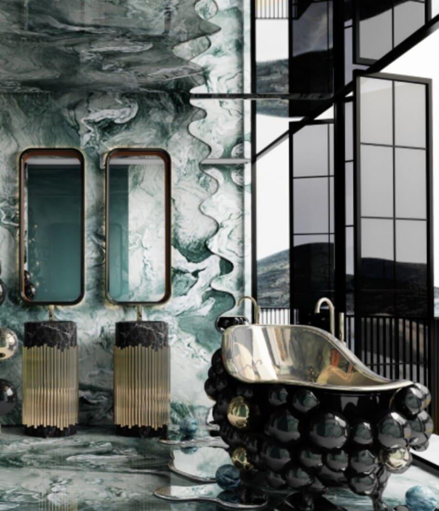 Colorful bathroom design with a bold black bathtub.