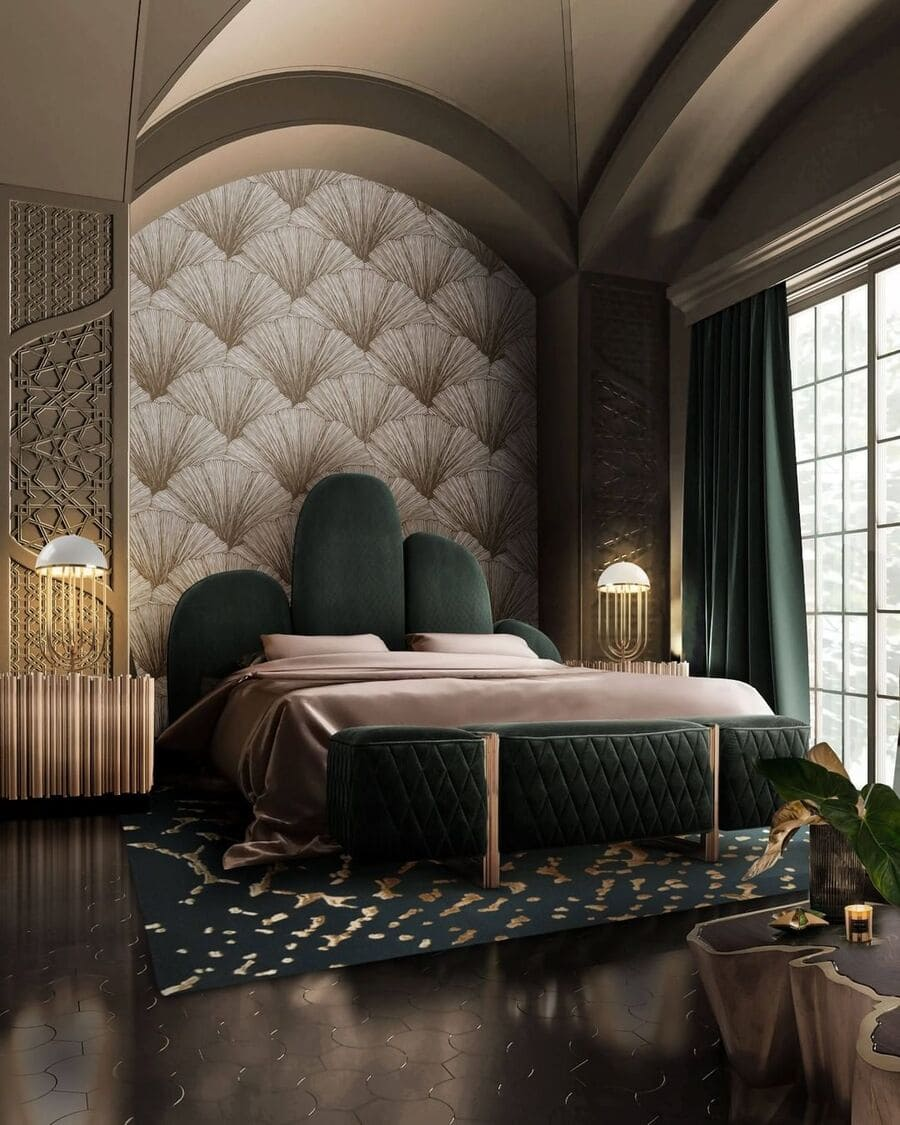 The lamps are such an elegant touch in this modern-luxurious bedroom!