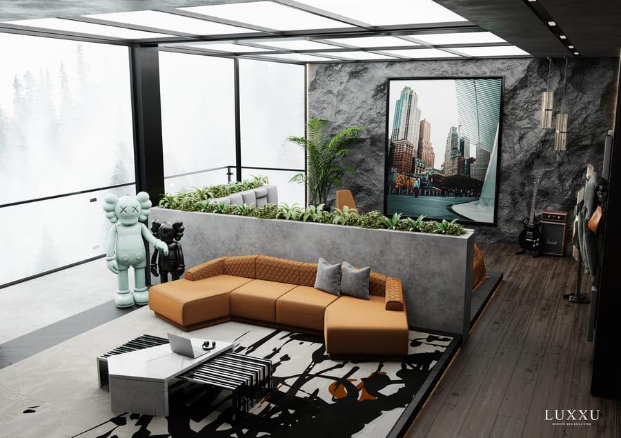 Modern Orange Upholstered Sofa